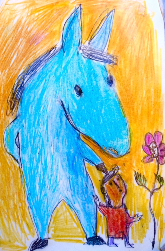 blue horse small person talking to a flower