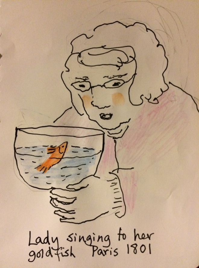 lady singing to goldfish