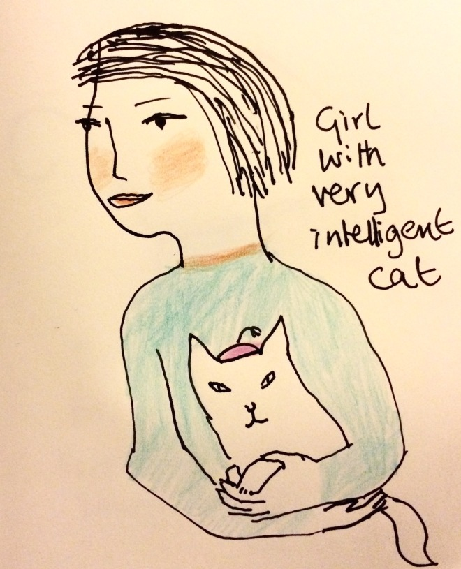 lady with inteligent cat