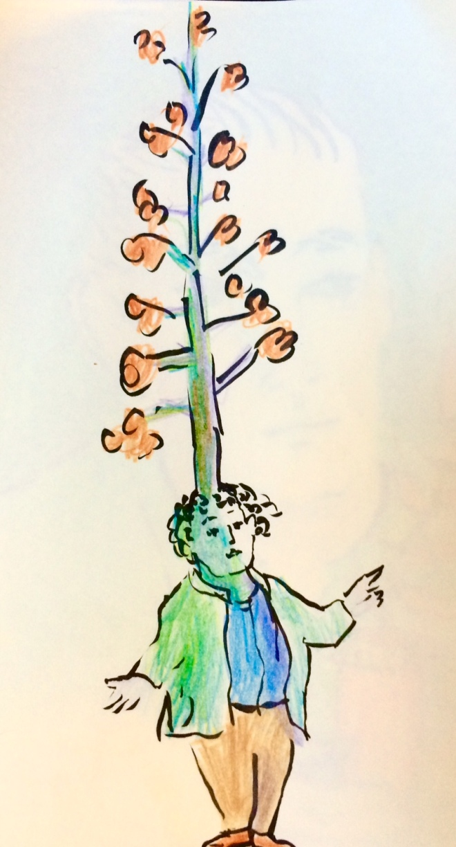 man with tree on head