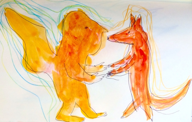 orange angel dancing with red dog