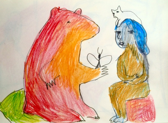 reb bear and butterfly