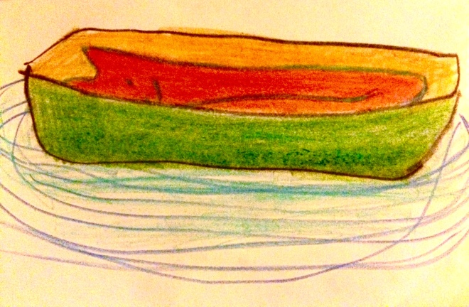 red dog in a green boat