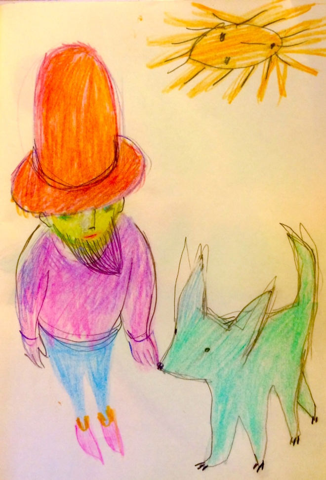 red hatted man with blue dog
